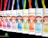 6 Personalized makeup, spa birthday or slumber party themed favors goody bags for girls