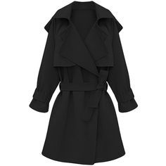 Womens Plus Size Turndown Collar Slimming Trench Coat Black (€53) ❤ liked on Polyvore featuring outerwear, coats, jackets, black, slim coat, slim trench coat, plus size trench coat, slim fit trench coat and plus size coats