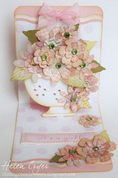 The Dining Room Drawers: Tattered Florals Baby Girl Card