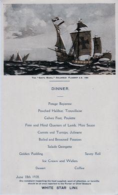 Dinner Menu, White Star Line R.M.S. Albertic