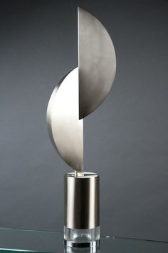Nickel-and-lucite table lamp by Gabriella Crespi, circa 1969.