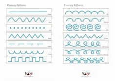 Fluency Patterns to use with a pupil to develop pre-writing skills. Adult to model the pattern using a sand tray; finger tracing in the air and then tracing over an adult's model on paper.