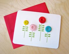 DIY Flower Notecard with Buttons Tutorial with FREE Printable Template | How About Orange