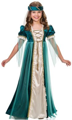 Emerald Juliet Girls Costume Included: Transform into a lovely maiden with this stylish Renaissance costume. Featuring a beautiful emerald green dress with gold details and a matching headpiece Princess Tutu Dresses, Pageant Dresses, 15 Dresses, Doll Dresses, Halloween Costumes For Girls, Halloween Fancy Dress, Girl Costumes, Costume Ideas, Costume Halloween