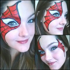 When you think about face painting designs, you probably think about simple kids face painting designs. Many people do not realize that face painting designs go Superhero Face Painting, Girl Face Painting, Face Painting Designs, Painting For Kids, Paint Designs, Spider Man Face Paint, Cheek Art, Spider Girl, Artistic Make Up