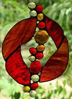 'RED Mirage' Organic Stained Glass Suncatcher Leadlight Amber Birthday Gifts   eBay  $49