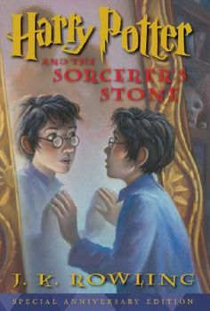 Harry Potter Series: (Book 1) Harry Potter and the Philosopher's Stone: (2008 United State of America 10th Anniversary Book Cover).