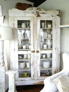 shabby corner cupboard