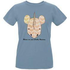 Rhinos Are Chubby Unicorns Blue Womens Organic T-Shirt - Small, Women's