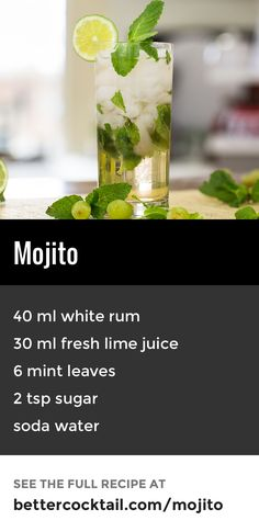 The Mojito is a famous Cuban original and is a very popular drink in summer. The combination of mint and citrus makes this an unbelievably satisfying and refreshing drink. When making the drink, the mint leaves should only be lightly muddled Drinks Alcohol Recipes, Alcoholic Drinks, Beverages, Bacardi Drinks, Mojito Cocktail, Popular Drinks, Popular Recipes, Summer Cocktails, Famous Cocktails