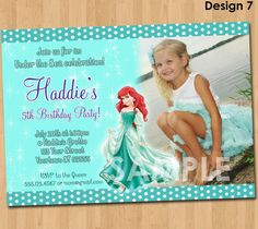 Ariel the Little Mermaid Invitation - Printable Princess Birthday Party Invite - Custom Personalized You-Print Digital Photo Card 4x6 or 5x7