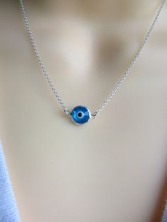 Sterling Silver Evil Eye Necklace. Just bought :) By Mony on Etsy.