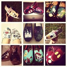 Disney shoes- totally adorable! I WILL be doing one of these to some shoes before I go to Disneyland in March!