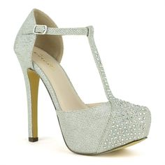 Celeste Silver High Heel Dress Pump | Myra-01  Slip into these stunning high heel platform pumps and dance the night away. Made with glitter finish material, these pretty pumps have a slightly pointed-toe, a t-strap upper with adjustable ankle-strap closure and embellished with attractive rhinestones. Cushioned insole and rubber outsole.