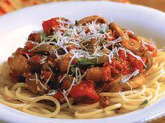 Serve this sweet, chunky vegetable sauce over any of your favorite pastas. It's a delicious, high-fiber alternative to traditional meat or marinara Eggplant Spaghetti, Spaghetti Squash And Meatballs, Eggplant Meatballs, Greek Recipes, Light Recipes, Pasta Nutrition, Zucchini Pasta, Cooking Recipes, Healthy Recipes