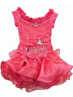 Girls Pageant Dresses - Lil Allie Girls dress CORAL6. Off-the-shoulder dress with cap sleeves. Stretch fabric with easy let up.