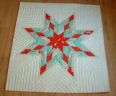 Love the quilting. Negligent style: Lone star - quilted - another idea for quilting my lone star quilt. Lone Star Quilt Pattern, Patchwork Quilt Patterns, Barn Quilt Patterns, Star Patterns, Circle Quilts, Star Quilt Blocks, Star Quilts, Christmas Quilting Projects, Machine Quilting Designs