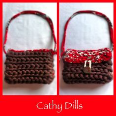 £9 Handmade CHOCOLATE BROWN & RED crochet HANDBAG. Size: 13cm x 10cm. Brown shell button.