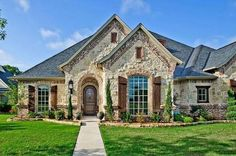 New Ideas exterior stone house front elevation Stone Exterior Houses, House Paint Exterior, Exterior House Colors, Stone Houses, Exterior Design, Exterior Shutters, Rustic Brick House Exterior, Stone House Exteriors, Stone Front House