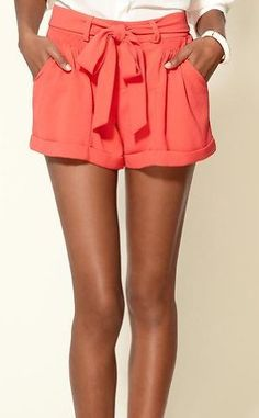 MM Couture by Miss Me Coral Pop Tie Cuffed Shorts: Clothing