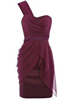 Purple Cocktail Dress - Bqueen Draped One Shoulder Dress | UsTrendy