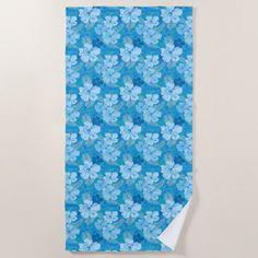#flower - #Hibiscus Blue Batik Beach Towel