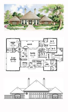 House Plan 65627 - European Style House Plan with 2791 Sq Ft, 3 Bed, 2 Bath, 3 Car Garage Round House Plans, Best House Plans, Dream House Plans, House Floor Plans, Build My Own House, Building A House, Caribbean Homes, Courtyard House Plans, Huge Houses
