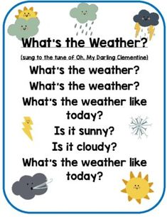 Weather Song for Circle Time
