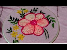 Hand Embroidery Videos, Hand Embroidery Flowers, Flower Embroidery Designs, Hand Embroidery Stitches, Big Flowers, Hibiscus Flowers, Beautiful Flowers, Easy Stitch, Simple Designs