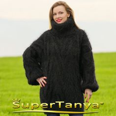 Exclusive mohair sweater in black hand knitted by by supertanya