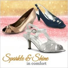 Sparkle and shine this season - in comfort. Find a variety of dress shoes at FootSmart that would work well while at the office or for a night out. Browse from colorful, sparkly, shiny, or embellished pumps in a variety of colors, styles, widths and sizes.