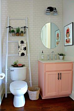 This pretty powder room makeover has plenty of personality. See all the details from Our Fifth House!