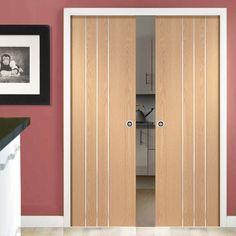 Double Pocket Barletta Oak Flush Door with Aluminium Inlay, Prefinished
