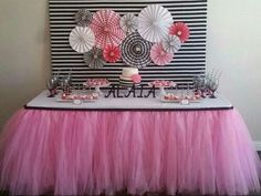 Kate Spade themed cake table with tutu table skirt