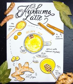 Doodlewash - Illustration by Elena Preschool Age, Food Illustrations, Turmeric, Latte, Watercolor Paintings, Healthy Lifestyle, Drawings, Artists, Inspiration
