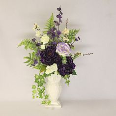 Silk Flower Arrangement in a White Ceramic Owl Vase with Dark Purple Peonies and Lavender Rose