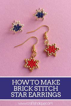 How to Make Brick Stitch Star Earrings  #brick #earrings #stitch