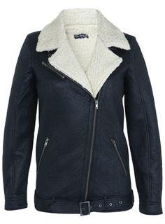 Navy Bonded Shearling Jacket