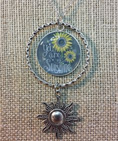 Adorable Silver Handmade You Are My Sunshine Halo Charm Pendant Necklace Includes 30 inch chain. Can be shortened upon request. Please note the desired length with your payment.
