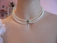 ventage emeral chocker | Wedding Necklace ,Bridal,Choker, Pearls, Rhinestone,Zirconium, Emerald ...