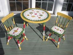 Hand Painted Children's table and Chairs.