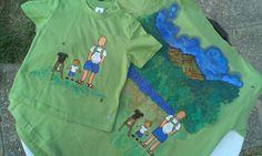 camiseta conectada con papá #pintadoamano #camisetaspintadas #pinturadetela  susoleto
