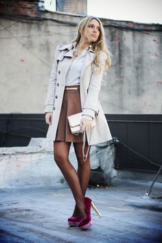 Nude trench coat, Tan skirt, & Magenta heels. Neutral outfit with a pop of color for the heels. <3