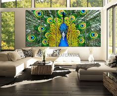 Large Wall Art 5 Panel Peacock Canvas Print - Peacock Canvas Art Print Wall Mural - Animal Canvas Painting Wall Art