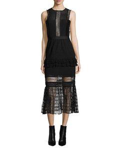 Sleeveless Mesh Ruffle-Trim Midi Dress, Black by Self Portrait at Neiman Marcus.