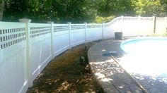 Vinyl Pool Fence with Square Lattice Topper Pvc Pool, Pool Fence, Square Lattice, Vinyl Pool, Severe Weather, Fence Ideas, Fencing, Environment, Deck