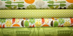 Happy colors.  Kitchy Kitchen by Maude Asbury for Blend Fabrics - 4 Half Yard Bundle - Last Set. $19.00, via Etsy.
