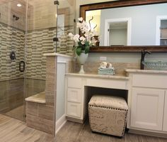 Master Bath With White Cabinets With Knee Space Vanity Seat And Shower With Built In