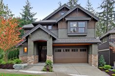 Craftsman Exterior of Home with Glass panel door, Exterior brick siding, Painted shingle siding, Raised beds, Fence Craftsman Home Exterior, Exterior House Colors, Exterior Design, Exterior Paint, Craftsman Houses, Stucco Exterior, Craftsman Style, Pacific Northwest Style, Stone Porches