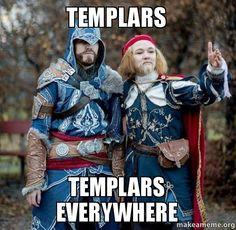 Look at all those templars you have to kill, Ezio. Lotta and Jonna as Ezio and Leonardo from AC